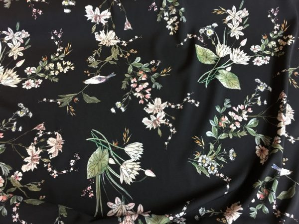 evening songbird crepe fabric
