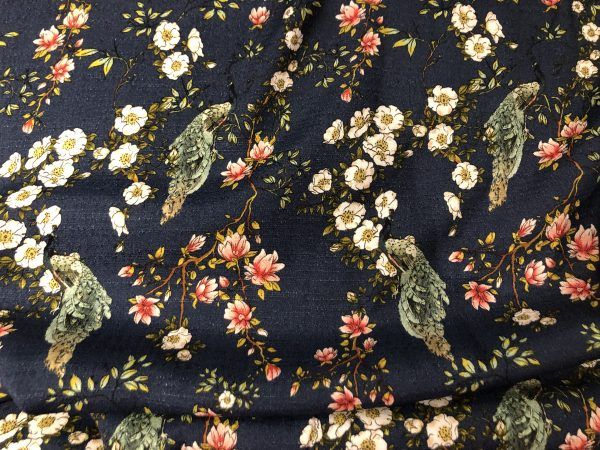Peacock Paradise Viscose Crepe