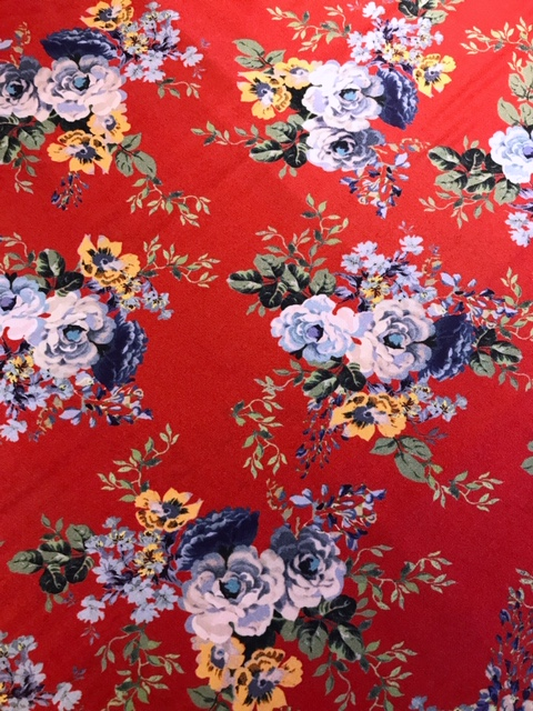 scarlet bouquet viscose twill